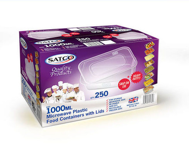 Satco Microwave Container & Lid [1000ml] - SHOPLER.CO.UK