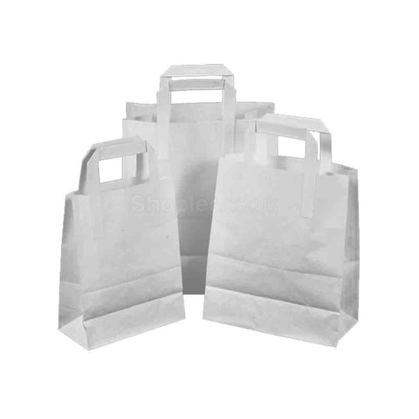 White Paper Carrier Bag Small [7x10.5x9Inch] - SHOPLER.CO.UK