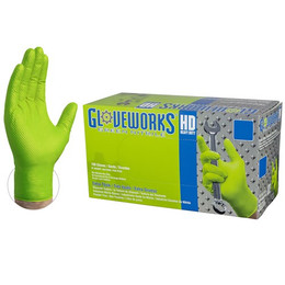 Gloveworks HD Green Nitrile Industrial Latex Free Disposable Gloves