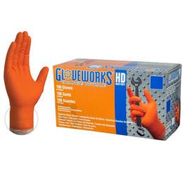 Gloveworks HD Orange Nitrile Industrial Latex Free Disposable Gloves