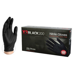 AMMEX BX3D Black Nitrile Industrial Latex Free Disposable Gloves