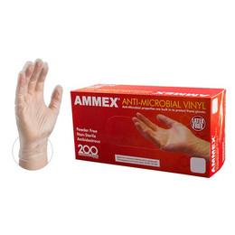 AMMEX Clear Anti-Microbial Vinyl Latex Free Disposable Gloves