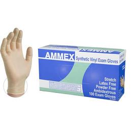 AMMEX Ivory Stretch Vinyl Exam Latex Free Disposable Gloves
