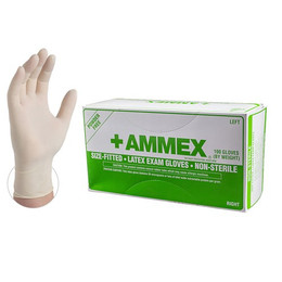AMMEX Ivory Hand Specific Latex Exam Powder Free Disposable Gloves
