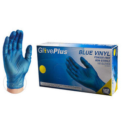 GlovePlus Blue Vinyl Industrial Latex Free Disposable Gloves