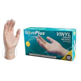 GlovePlus Clear Vinyl Industrial Powdered Disposable Gloves
