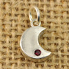 Fine Silver Sculpted Moons Birthstone Charm, close up