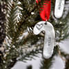 Hand stamped candy cane ornament