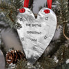 Custom fine pewter Christmas ornament, personalized with your message on a Christmas tree