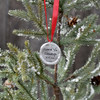 Custom fine pewter Christmas ornament with your handwriting, on a Christmas tree