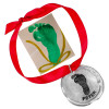 Custom fine pewter memorial Christmas ornament, personalized with your child's footprints , shown with original footprint