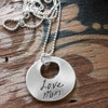 Memorial custom silver Sculpted Circle Cut Out Handwriting Necklace, personalized with handwritten signature from passed parent