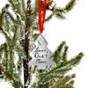 Custom handwriting on pewter Christmas Tree ornament, shown on a Christmas tree