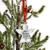 Personalized fine pewter handwriting Angel Memorial Ornament, shown on christmas tree