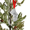 Christmas tree with custom fine pewter stocking shaped ornament, personalized with child's artwork and handwritten note to dad