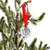 Custom fine pewter Christmas ornament, personalized with your child's artwork, shown on a Christmas tree