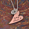 Custom Handwriting Necklace with Copper Heart with heart charm