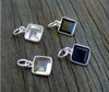 Large Square Sterling Wrapped Stone