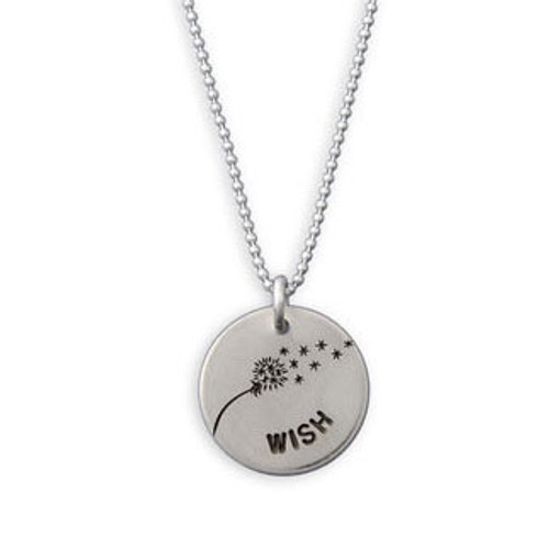 Hand stamped Wishie necklace on box chain