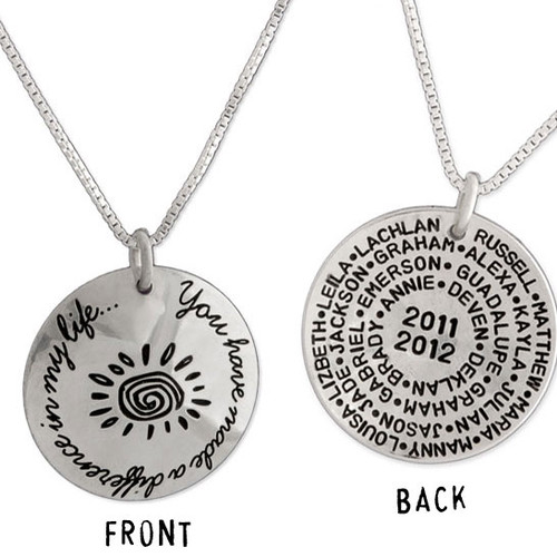 Silver custom necklace for coach - You Have Made a Difference Coach Necklace, showing message on front, and team roster on the back