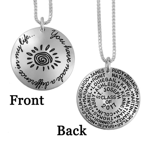 silver custom You Have Made a Difference Necklace teacher necklace, personalized with students' names & school year dates on the back