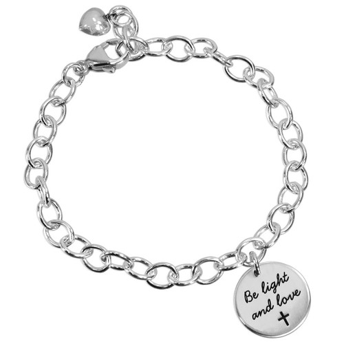 """custom Your Saying On A Bracelet in sterling silver, personalized with message """"Be Light and Love"""" stamped on the charm, shown on white"""
