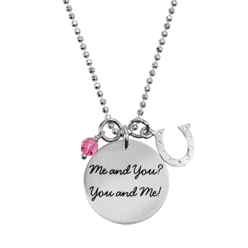 Custom sterling silver hand stamped Your Saying On A Necklace shown with birthstone and horseshoe charm, personalized with your own message