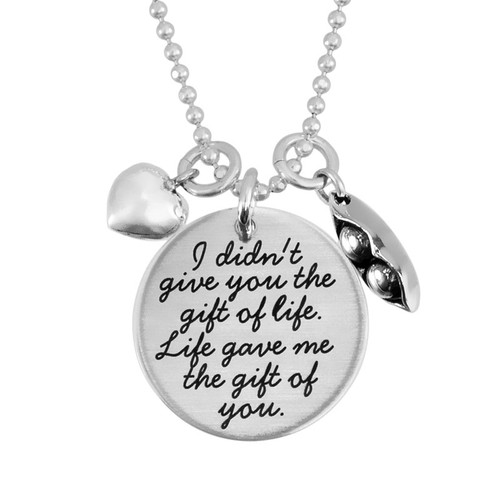Custom silver Your Saying On A Necklace,  personalized with stamped message to a daughter, shown with silver puffed heart charm and peas in a pod charm