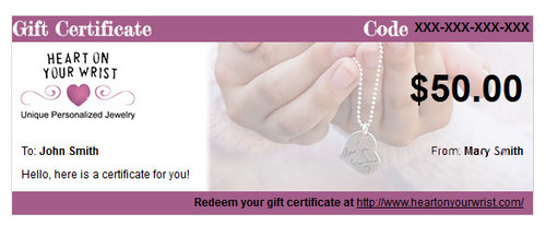 Gift Certificate for Heart On Your Wrist
