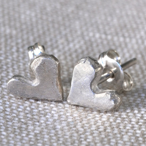 """Loved"" handmade fine silver heart earrings"