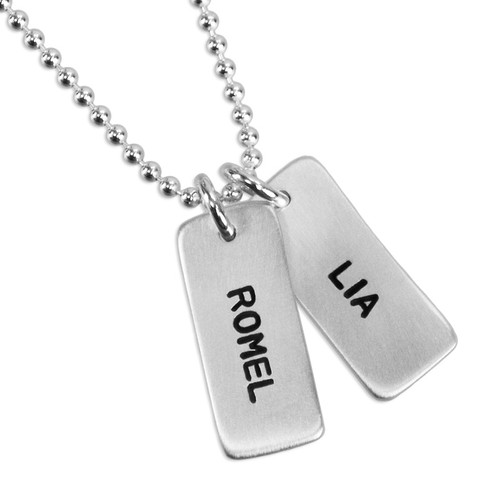 Custom silver Chunky Rectangle Charms Necklace, personalized with hand stamped kids' names Romel and Lia