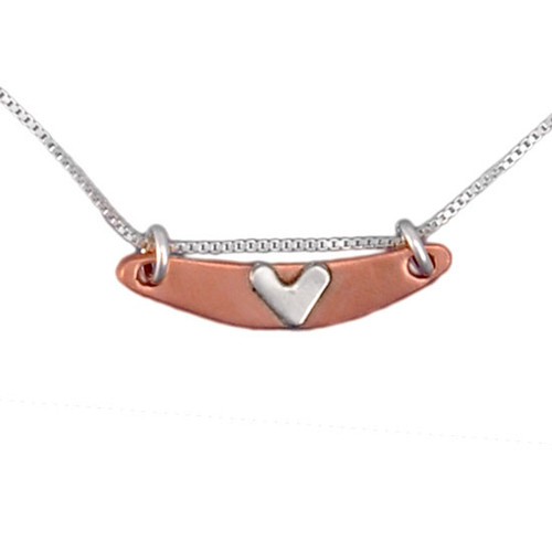 Handmade Subtle Devotion Arc Necklace with copper arc and silver heart