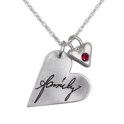 Custom silver Sculpted Heart Handwriting Necklace, with the word family, and a red birthstone