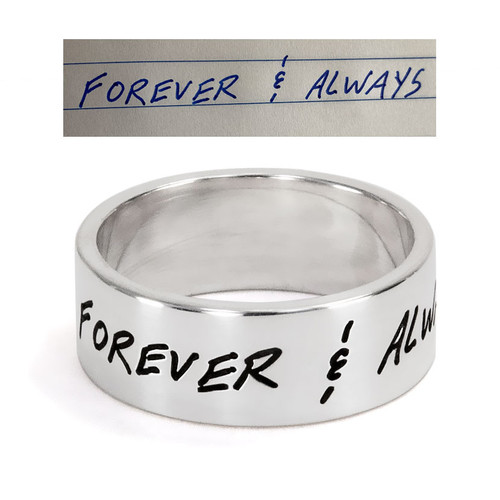 Custom bridal handwriting silver ring, personalized with fiancé's handwritten message in their actual handwriting