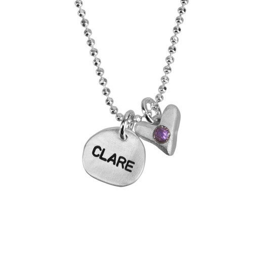 Custom Sculpted Nugget round fine silver charm personalized with handstamped name Clare, with fine silver handmade heart with embedded birthstone