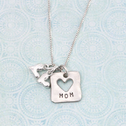 """Personalized fine silver Mom and child necklace, with a fine silver square tag hand stamped with """"Mom"""", and 2 fine silver handmade solid hearts"""