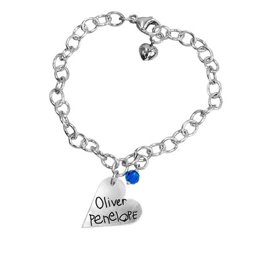 Custom Silver heart handwriting bracelet, personalized with your kids handwritten names, and birthstone
