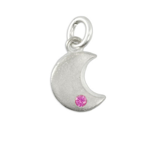 Sculpted Moon Charm with October Birthstone
