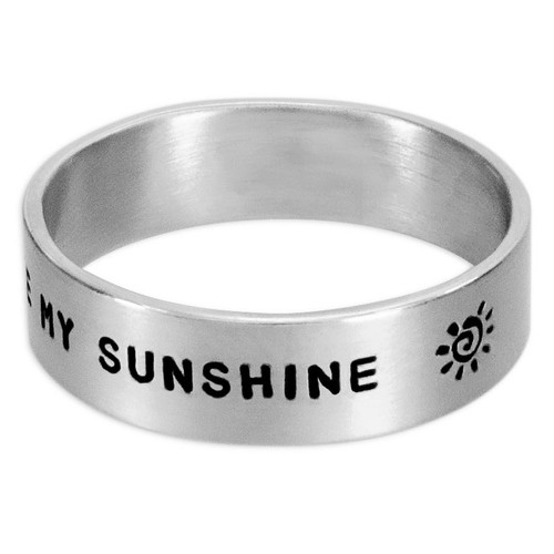 "Silver custom wide band ring hand stamped with the words, ""You are my sunshine"""