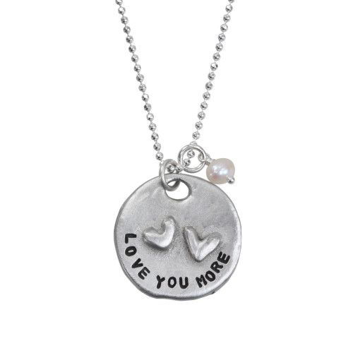 Hand stamped love you more necklace