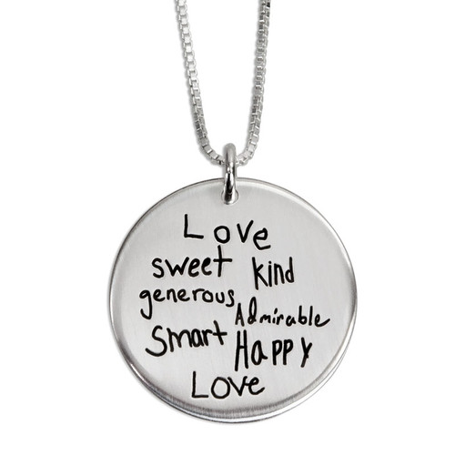 """Mothers Day necklace with Kids actual handwritten words describing her, engraved on 7/8"""" silver disc necklace, shown on box chain"""