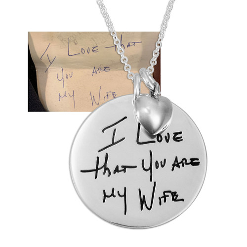 "custom Silver Disc Handwriting Necklace, with anniversary note used to personalize it, on a 7/8"" disc with silver puffed heart charm"
