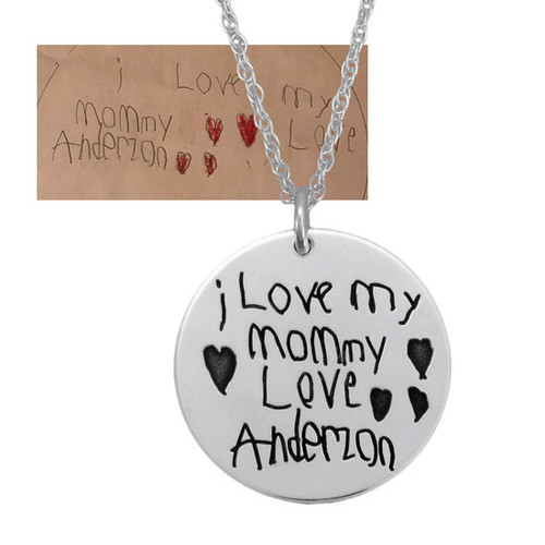"Child's handwriting on 7/8"" silver disc necklace, showing original handwriting"