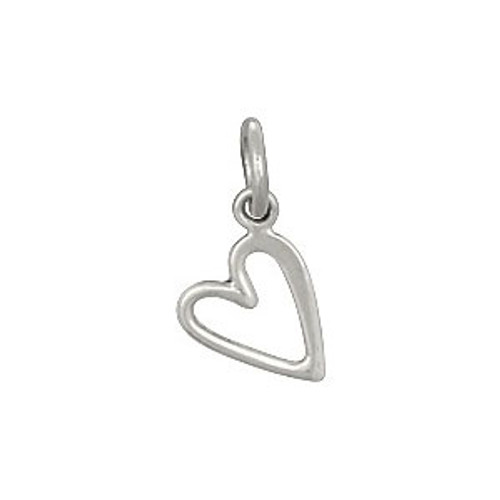 Cute silver sideways open heart charm