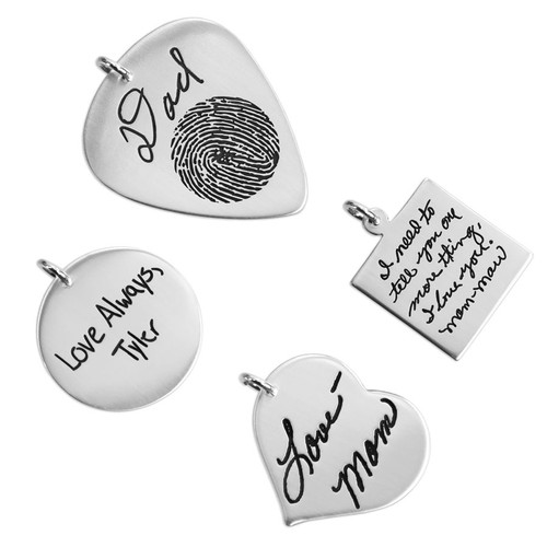 Charms that can have handwriting added to them individually, to add to other pieces