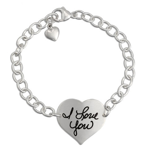 Custom heart silver handwriting bracelet, personalized with your loved one's handwritten note
