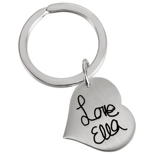 Custom Handwriting Heart silver Key Ring, with handwritten name from daughter, shown on white
