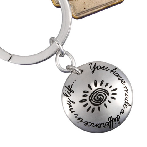 Sterling silver teacher gift - You Have Made a Difference Key Chain, shown close up