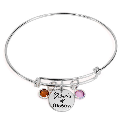 Personalized silver adjustable bracelet for mom with handwritten signatures from two kids engraved on sterling round charms, with  Large Classic Swarovski Birthstones for each child