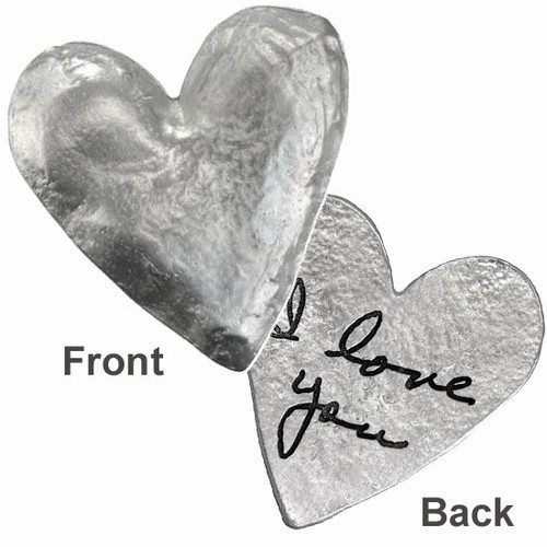 "Heart pocket charm with handwriting in fine pewter, on white, personalized with handwritten ""I Love You"""